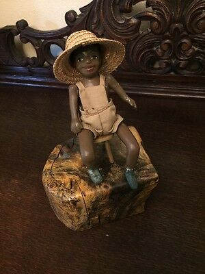 Antique Seated Black African American Doll With Chair & Straw Hat
