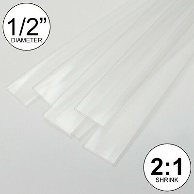 "(4 FEET) 1/2"" Clear Heat Shrink Tubing 2:1 Ratio Wrap inch/foot/ft/to 0.5"" 13mm"