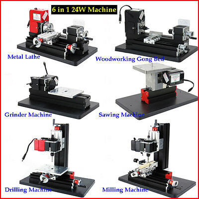 6 in 1 Mini Metal Lathe 24W 20000r 12V Milling Drilling Grinding Sawing Machine