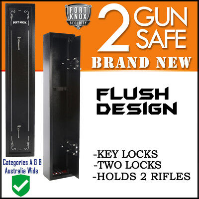 2 Gun Safe Firearm Rifle Storage Lock Box Steel Cabinet Fort Knox Black Key Only