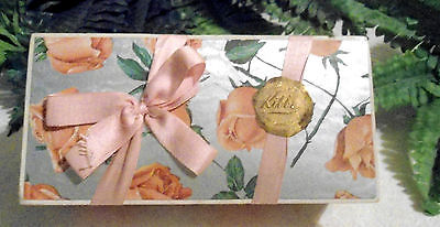 Vintage Early Kibbe Chocolate Box Ribbon, Peach Roses, Foil Seal, V. Graphics
