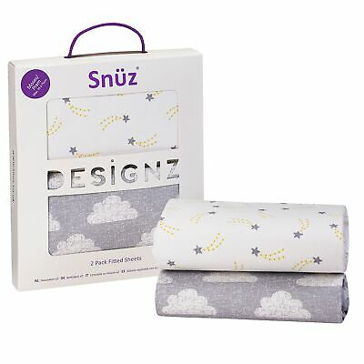 Snuz Fitted Sheet Twin Pack For Pram / Moses Basket - Cloud Nine