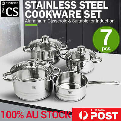 Belm 7pcs Stainless Steel Cookware Set Pot Saucepan Casserole w/ Glass Lid