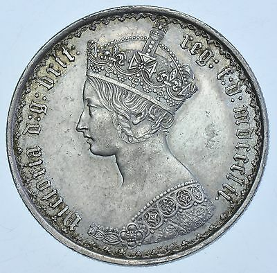 1852 Gothic Florin, British Silver Coin From Victoria Ef