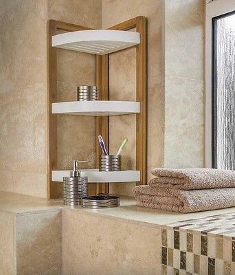 Bamboo 3 Tier Bathroom Shower Corner Caddy Free Standing Unit Organiser Shelves