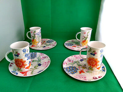 Roy Kirkham World of Flowers Sandwich Plates & Mugs x 4