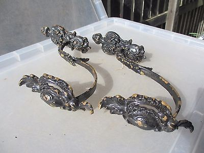 Victorian Brass Curtain Tie Backs Antique French Baroque Rococo Gilt Shell Old