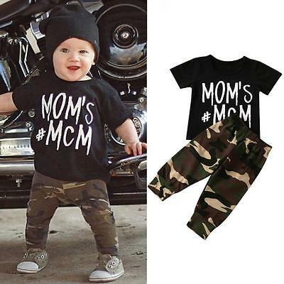 Infant Newborn Baby Boys Girl T-shirt Tops+Camouflage Pants Outfits 2PCS Clothes