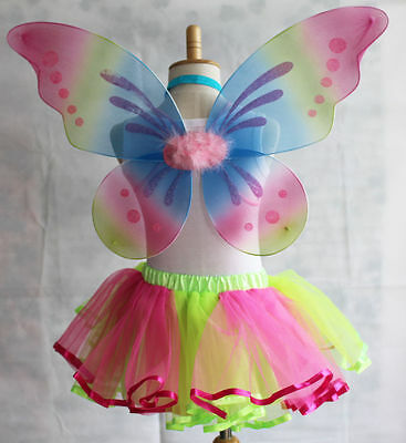 UK Rainbow Pixie Angel Butterfly Fairy Wings Girls Kids Dress Up Party Costumes