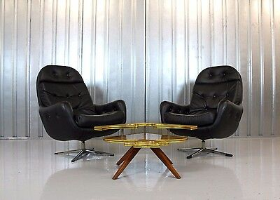 Vintage Retro Mid-Century Pair Of 1970's Danish Black Vinyl Swivel Egg Chairs