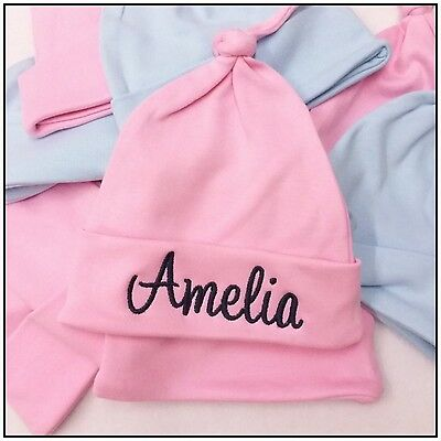 Personalised baby hat custom knotted baby hat newborn baby hat birth boy/girl