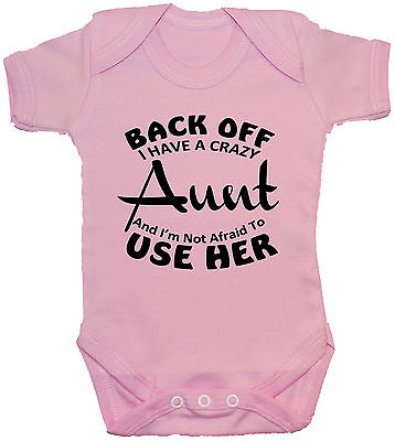Back Off Crazy Aunt Baby Grow/Bodysuit/Romper/T-Shirt NB-24m Funny Boy Girl