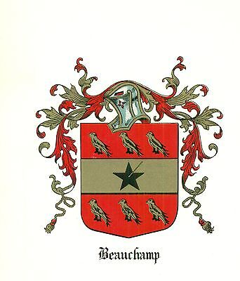 *Great Coat of Arms Beauchamp Family Crest genealogy, would look great framed!