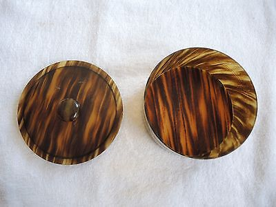 Celluloid Tortoise shell faux trinket jewellery box container Vintage Art Deco
