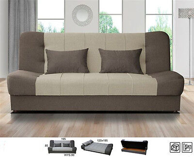New Large Click Clack Sofabed Fabric With Storage 3 Seater Double Bed Grey Brown