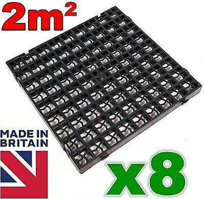 8x Black Plastic Paving Driveway Grid Turf Grass Gravel Protector (2 SQ/M).