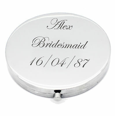Personalised Silver Round Circle Shape Compact Mirror For Bridesmaid Wedding UK