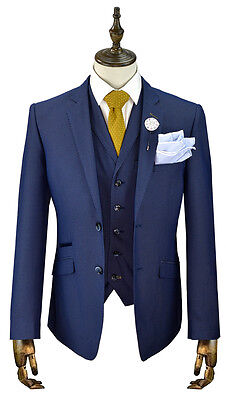 Mens Cavani 3 Piece Suit Blazer Waistcoat Trousers Slim Fit Blue Sizes 36 To 50