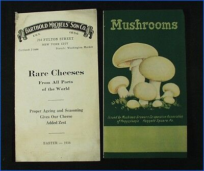 2 Vintage Food Flyers, Mushrooms Recipes, Rare Cheeses 1936 Easter