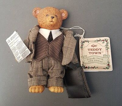 Vintage Russ Teddy Town Porcelain Bear - Business Man with tags