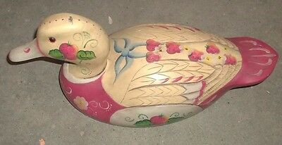 Wooden Carved Duck Vintage Strawberry Floral Painted Shabby Chic Decor  (Qq3)
