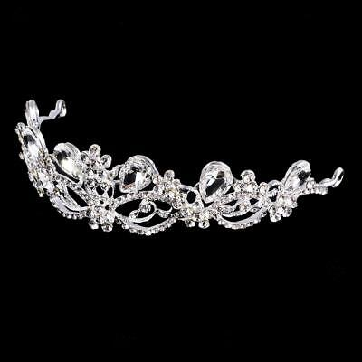 Bridal Bridesmaid Wedding Crystal Teardrop Crown Tiara Headband Headpiece