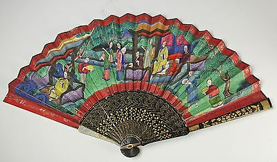 Old Chinese Hand Painted Fan With Figures And Flowers