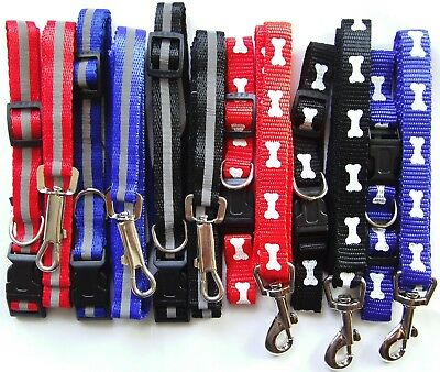 Reflective Small Dog Puppy Collar and Lead Set Adjustable Red Blue Black Pug