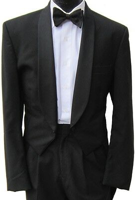 Black 100% Wool Shawl Lapel Tailcoat Full Dress (2 Accent Buttons)