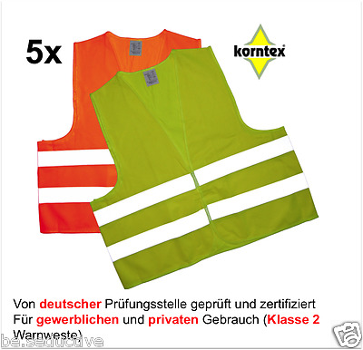 5 Reflective Vest Yellow korntex Breakdowns Accident iso20471:2013 Safety Car