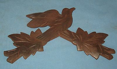 Antique Hand Carved Bird Black Forest Walnut Furniture Decorative Art Applique