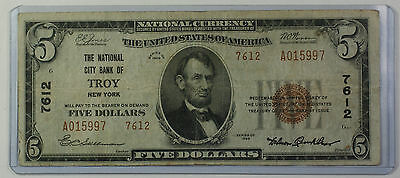 Series 1929 Type 2 $5 National Currency Banknote Troy, New York Charter 7612 (B)