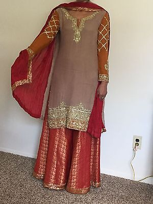 Pakistani Designer suit Heavy Embroidery Party/Wedding wear Medium (New)