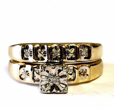 10k yellow gold .03ct diamond engagement ring wedding band bridal set 3.6g