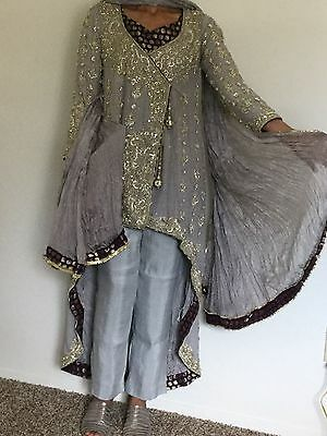Designer Pakistani engagement/Wedding  Angarkha style Gorgeous Grey Gown New
