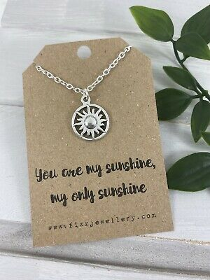 """Silver Sunshine  """"You are my Sunshine"""" Message Card Gift Necklace Brand New"""