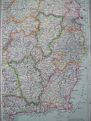 1908 South East Ireland Dublin & Wexford Kildare Wicklow Meath Harmsworth Map