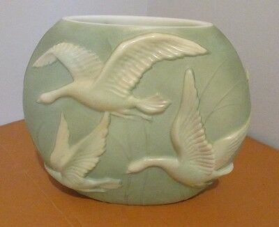 Vtg. Lg.art Deco Phoenix Glass Sculptured Artware Geese Sculptured Artware Vase