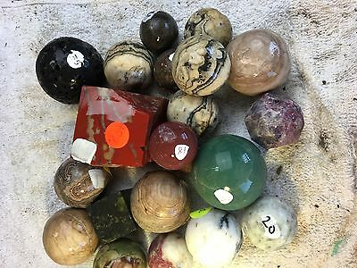 Over a DOZEN Sphere pre-forms #239 Colorful Non Finished Marbles of all sizes