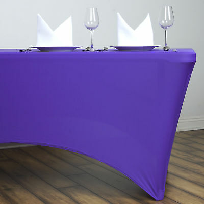 Purple 6 ft RECTANGLE SPANDEX STRETCH TABLE COVER Tablecloth Wedding Party