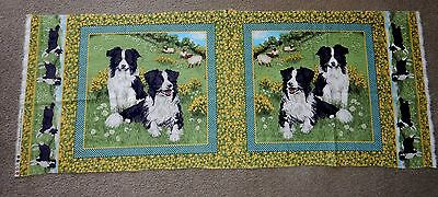 Rare Border Collie Fabric Pillow Or Quilt Squares 1/2 Panel Cotton