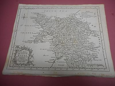 100% Original North Wales  Map By Kitchin C1764 Vgc Low Uk Postage
