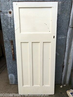"""34""""x81 1/2"""" Reclaimed 1930s Stripped Pitch Pine Four 1over3 Panel Wide Door"""