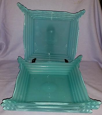 Set 4 Exquisite Hand Blown Art Deco 1920's  Turquoise Rabbit Ear Glass Plates