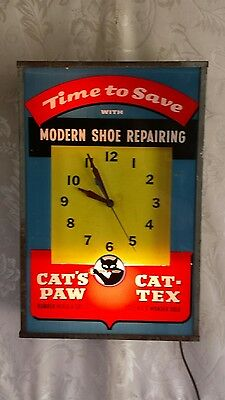 Cats-Paw Cat-Tex Advertising Light Up Clock ~ Estate Find ~ Difficult to Find