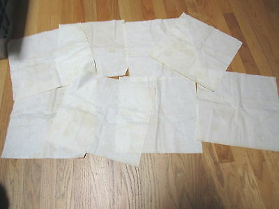 Vintage Lot 8 White Quilt Backing Blocks Stamped Diamond Triangles