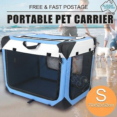 Portable Pet Carrier Crate Dog Cat Soft Travel Fold Cage Kennel Wood Base Small