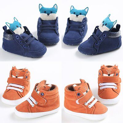 Cartoon Toddler Girls Boys Crib Shoes Newborn Baby Prewalker Soft Sole Sneakers