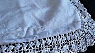 French antique white floral silky damask sham pillow case hand made crochet lace