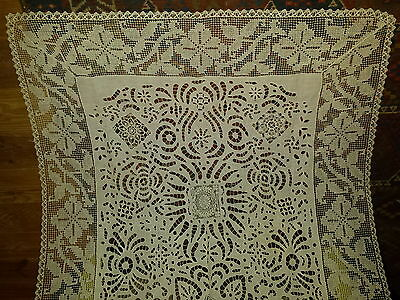 French antique sumptuous hand made lace Richelieu linen cotton tablecloth hearts